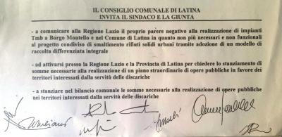 mozione rifiuti e opere borghi latina tmb discarica servizi montello